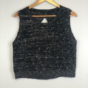 Knot Sisters Black Speckled Crop Top Sweater Sz M